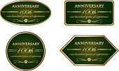 One hundred years of experience, luxury green and gold vintage anniversary label collection.