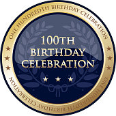 One hundredth birthday celebration gold award with a laurel wreath and stars.