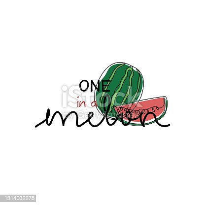 istock One in a melon - cute watermelon in modern line art and coloring. For print and other purposes. 1314032275