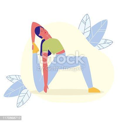 One Leg King Pigeon Pose Flat Vector Illustration. Young Fitness Instructor Cartoon Character. Eka Pada Rajakapotasana, Yoga Backbends. Slim Woman in Mermaid Position, Flexibility Training Exercise