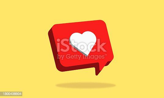 istock One like social media notification with heart icon 1300438504