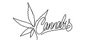 One Line Abstract Hand Written Word Cannabis With Cannabis Leaf Vector Illustration