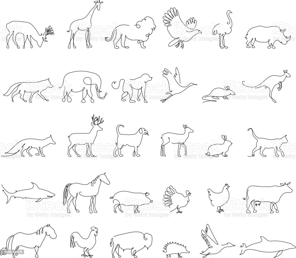 One line animals set icons vector stock illustration turkey and cow pig and eagle giraffe and horse dog and cat fox and wolf dolphin and shark