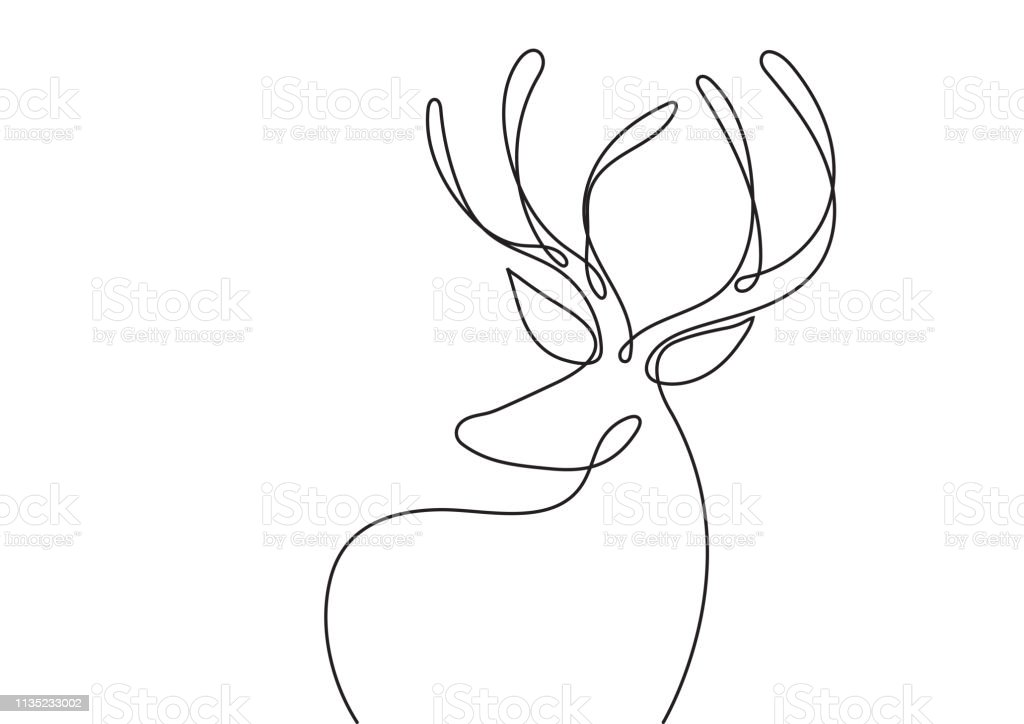 One Line art deer. Abstract modern decoration. Vector illustration....