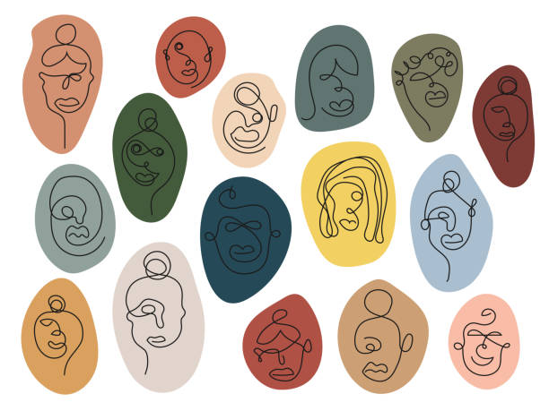 one line art faces, colorful - diversity stock illustrations