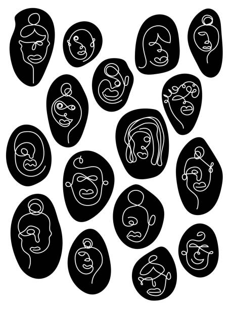 One line art faces vector art illustration