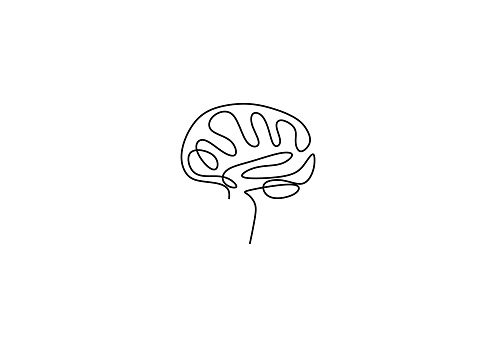 One line brain design silhouette. Brain implants. Neural implants. Human brain creativity hand drawn minimalism style vector illustration. Anatomical human concept isolated on white background.