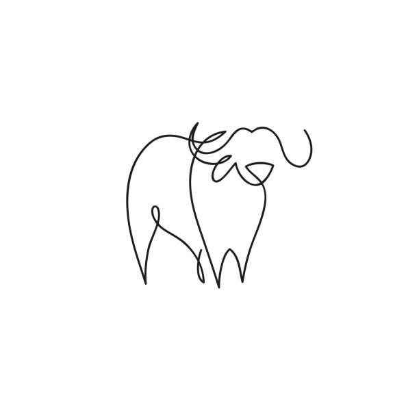 One line buffalo design silhouette set. Hand drawn vector illustration vector art illustration