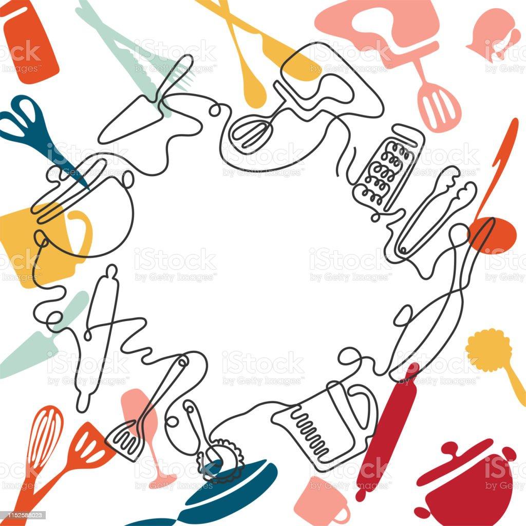One line drawing concept for a restaurant menu. Continuous line art...