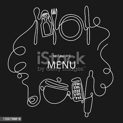 istock One line drawing concept for a restaurant menu. Continuous line art of knife, fork, plate, pan, spoon, grater, ladles, rolling pin 1200796816