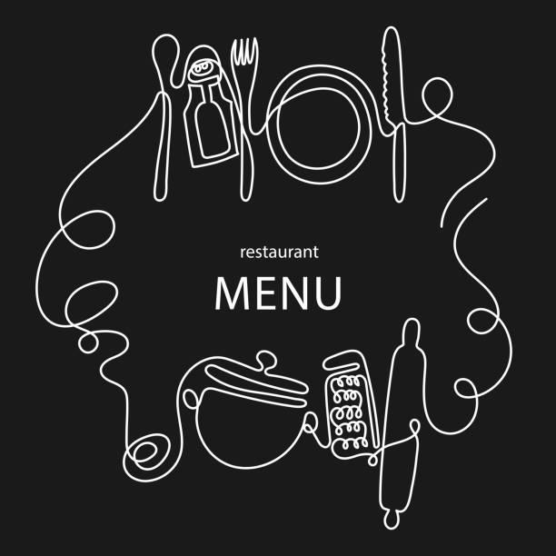 ilustrações de stock, clip art, desenhos animados e ícones de one line drawing concept for a restaurant menu. continuous line art of knife, fork, plate, pan, spoon, grater, ladles, rolling pin - comida e bebida