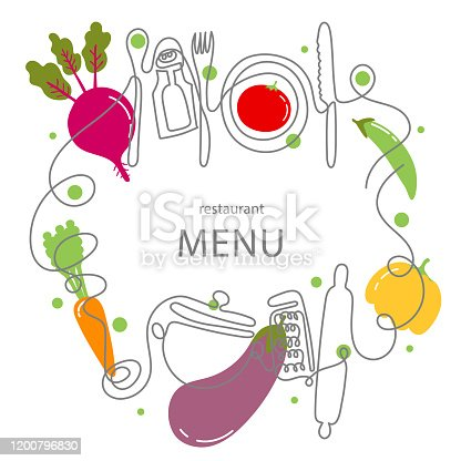 istock One line drawing concept for a restaurant menu. Continuous line art of knife, fork, plate, pan, spoon, grater, ladles, rolling pin 1200796830