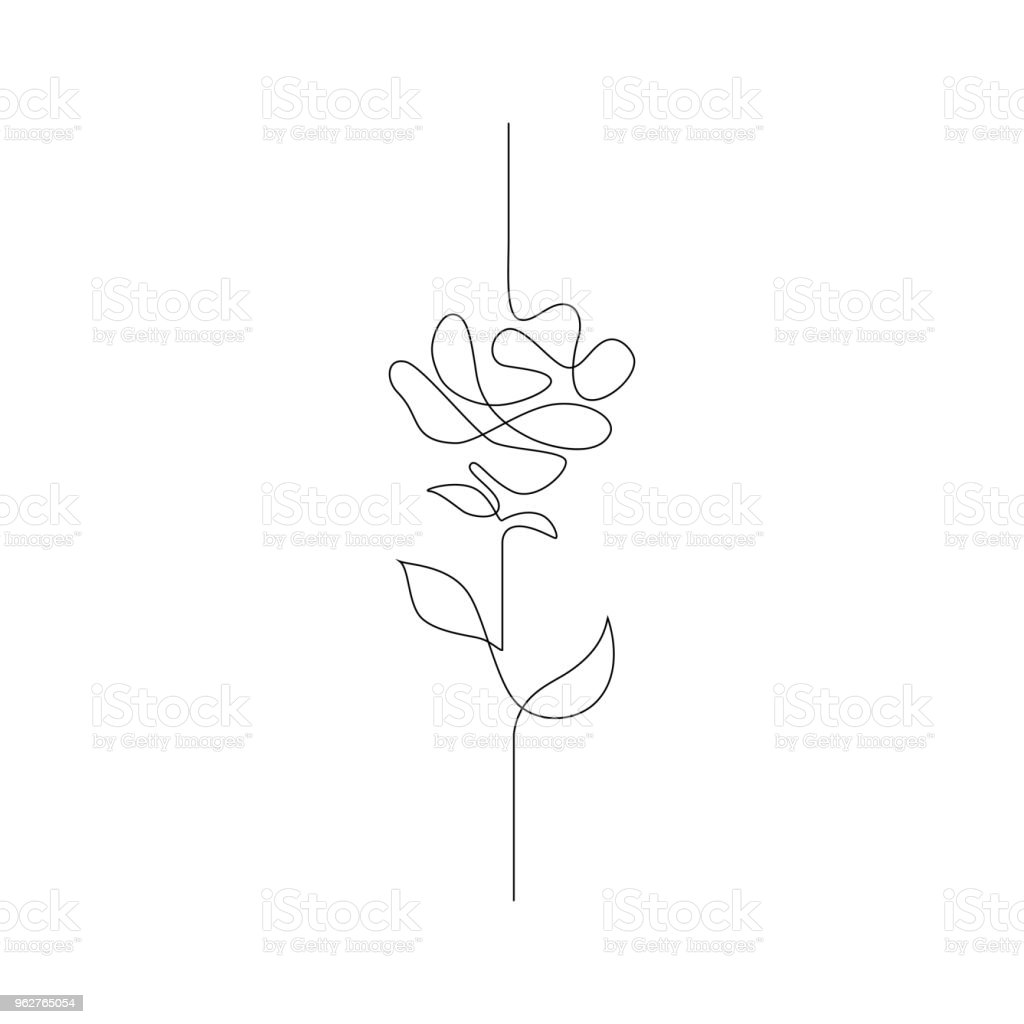En linje ritning. Kontinuerlig linje blomma. Handritade illustration för logotypen, emblem och design kort, affisch. Vektor. - Royaltyfri Abstrakt vektorgrafik