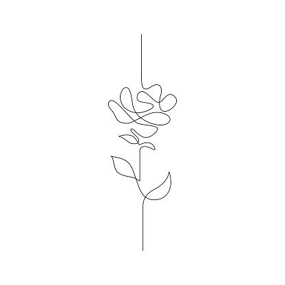 En Linje Ritning Kontinuerlig Linje Blomma Handritade Illustration För Logotypen Emblem Och Design Kort Affisch Vektor-vektorgrafik och fler bilder på Abstrakt