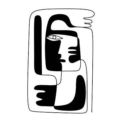 One line drawing ethnic human character with hand. Modern minimalist art, aesthetic contour. Continuous line man with hands tribal portrait. Man in the ethnic style. abstract vector illustration