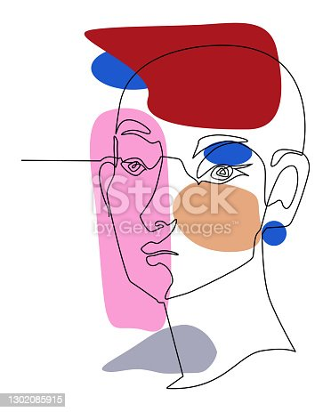 istock One line drawing face. Modern single line art contour portrait, contour.  Vector illustration 1302085915