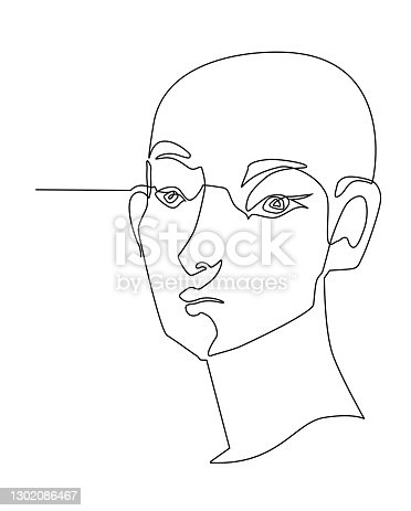 istock One line drawing face. Modern single line art contour portrait, contour.  Vector illustration 1302086467