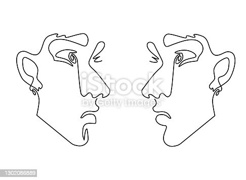 istock One line drawing face. Modern single line art contour portrait, contour.  Vector illustration 1302086889