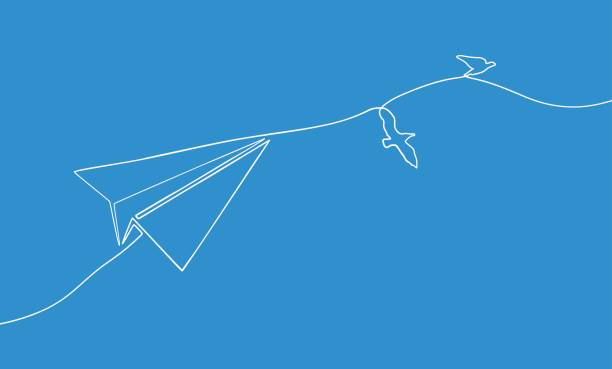One line drawing of flying paper airplane for finance and business concept One line drawing of flying paper airplane for finance and business concept bird drawings stock illustrations