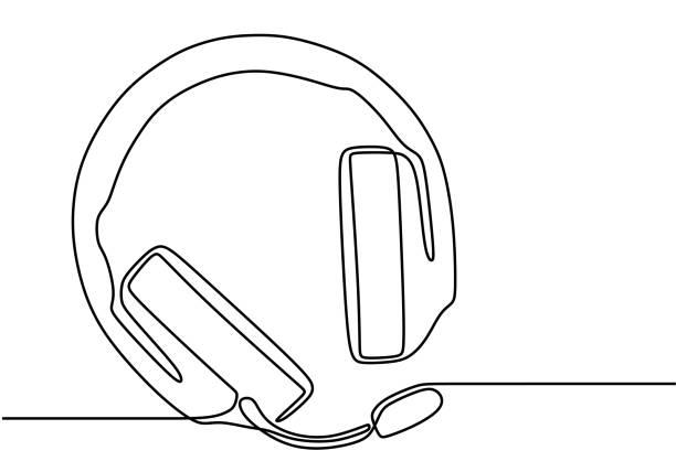 illustrazioni stock, clip art, cartoni animati e icone di tendenza di disegno a una riga del dispositivo altoparlante per cuffie gadget design line art continuo isolato su sfondo bianco. cuffia per podcast o trasmissione. illustrazione vettoriale dei simboli della tecnologia delle cuffie - ear talking