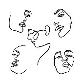 One Line drawing of set Woman's Face. Continuous line Portrait of a girl In a Modern Minimalist Style. Vector Illustration. For printing on t-shirt, Web Design, beauty Salons, Posters and other things