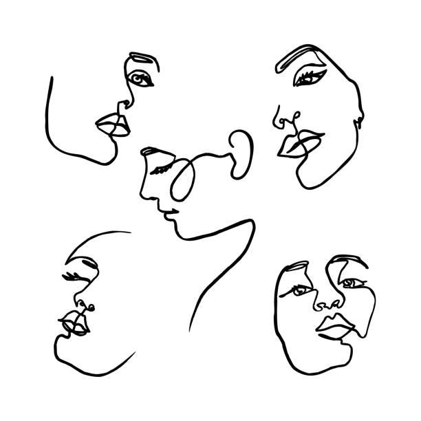 一張畫的一組女人的臉。連續線女孩的肖像在極簡主義的風格。向量插圖。 - 一個物體 幅插畫檔、美工圖案、卡通及圖標