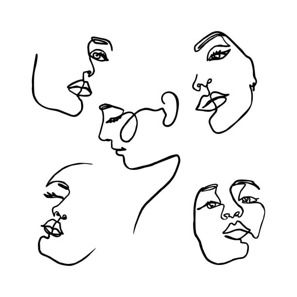 One Line drawing of set Woman's Face. Continuous line Portrait of a girl In a Minimalist Style. Vector Illustration. One Line drawing of set Woman's Face. Continuous line Portrait of a girl In a Modern Minimalist Style. Vector Illustration. For printing on t-shirt, Web Design, beauty Salons, Posters and other things single object stock illustrations