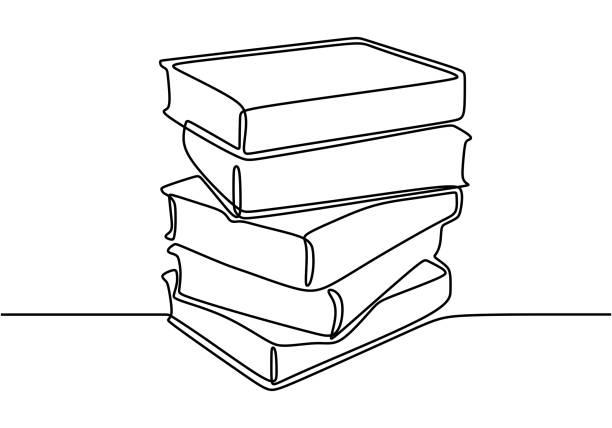 eine linienzeichnung von stapel von büchern. buch ist fenster der welt. studieren, mit buch lernen. intelligentes bildungskonzept vektor-illustration. gut für banner lesen buchkonzept - menschliches körperteil stock-grafiken, -clipart, -cartoons und -symbole