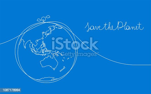 One line drawing of world environmental protection concept