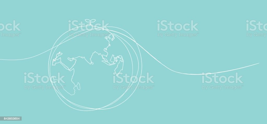Eine Strichzeichnung des Welt-Umweltschutz-Konzeptes – Vektorgrafik