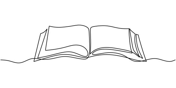 One line drawing, open book. Vector object illustration, minimalism hand drawn sketch design. Concept of study and knowledge. One line drawing, open book. Vector object illustration, minimalism hand drawn sketch design. Concept of study and knowledge. literature stock illustrations
