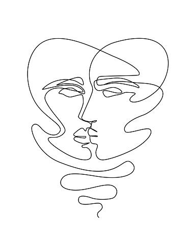 One Line Drawing Woman Face. Beauty Female Portrait
