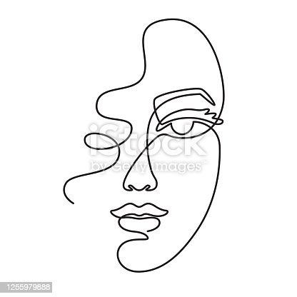 istock One line face. Minimalist continuous linear sketch woman face. Female portrait black white artwork outline vector hand drawn illustration 1255979888