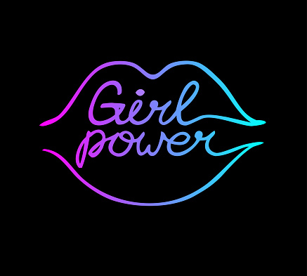 One line female neon lips with girl power inscription isolated on black background.