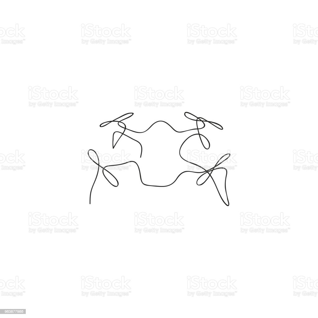 One line flying drone. Hand drawn vector illustration. - Royalty-free Art stock vector
