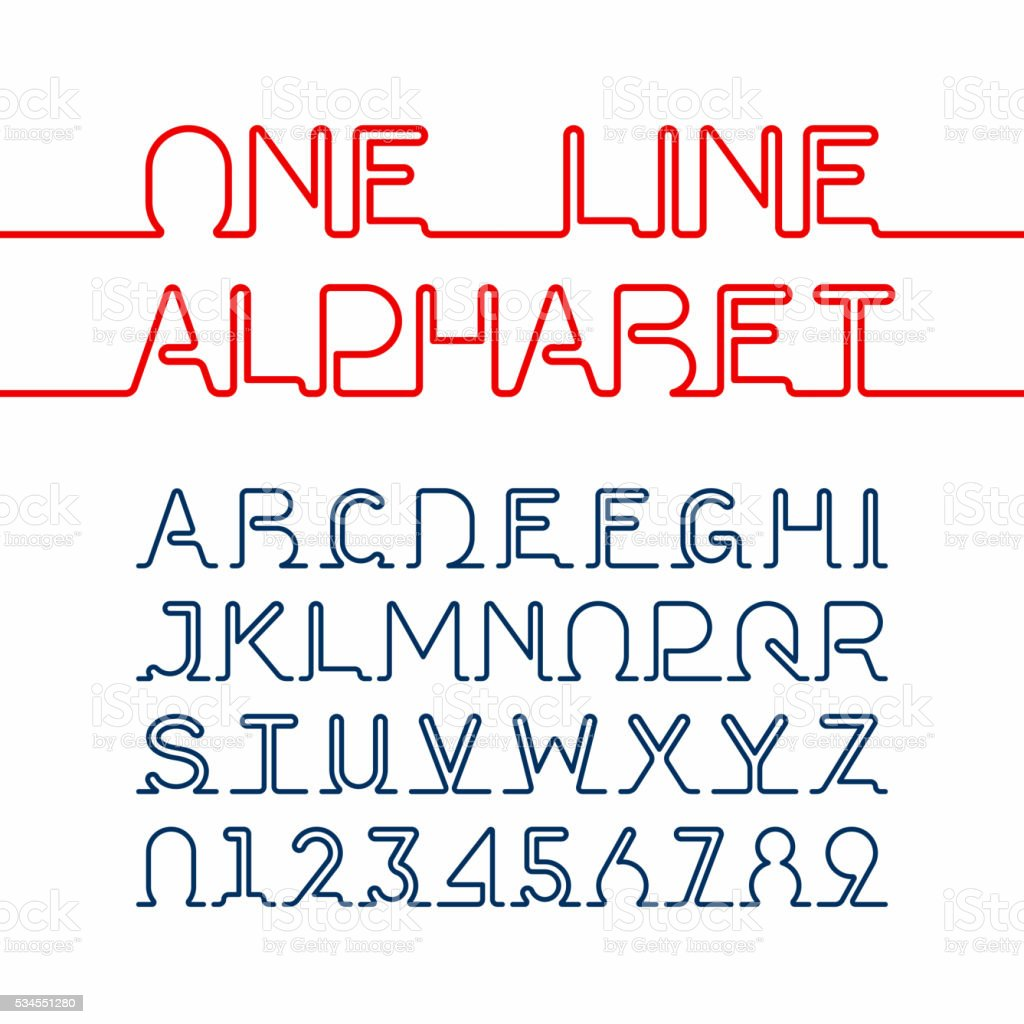One line font vector art illustration