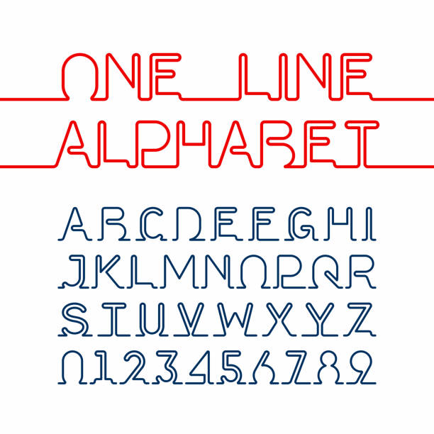one line font - single object stock illustrations