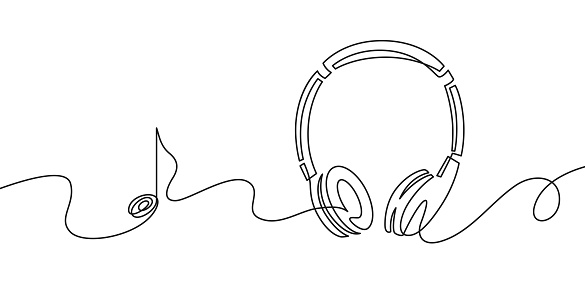 One line headphones. Continuous drawing of music gadget and note. Audio headphone outline sketch. Lineart vector concept of musical symbol