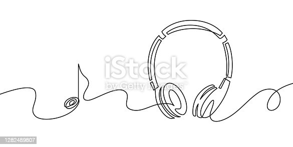 istock One line headphones. Continuous drawing of music gadget and note. Audio headphone outline sketch. Lineart vector concept of musical symbol 1282489807