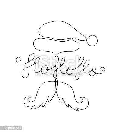 istock One line Ho ho ho phrase. Expression of Santa Claus. 1069854394
