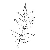 istock One line leaf vector drawing. Botanical Continuous line Contour illustration 1221500510