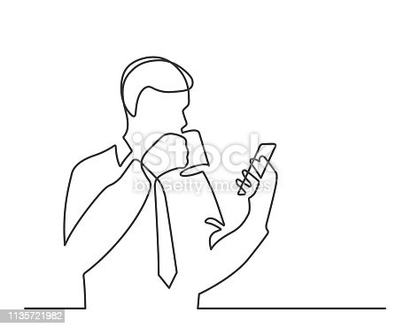 Man with a cup of coffee reads smartphone - continuous line drawing. Vector illustration