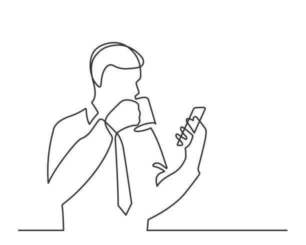 one line man coffee Man with a cup of coffee reads smartphone - continuous line drawing. Vector illustration one senior man only illustrations stock illustrations