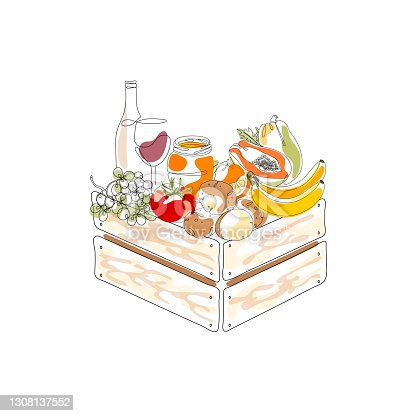 istock One Line Organic Shop Template with Fruit and Vegetables in wooden crates. The concept of the harvest festival. 1308137552