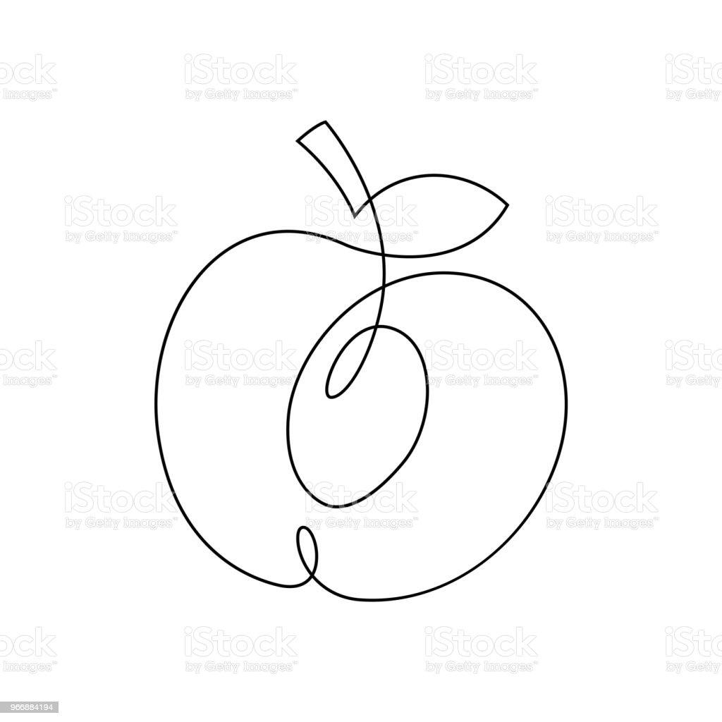 Ilustración de Diseño De Una Línea De Melocotón Mano Dibuja La ...