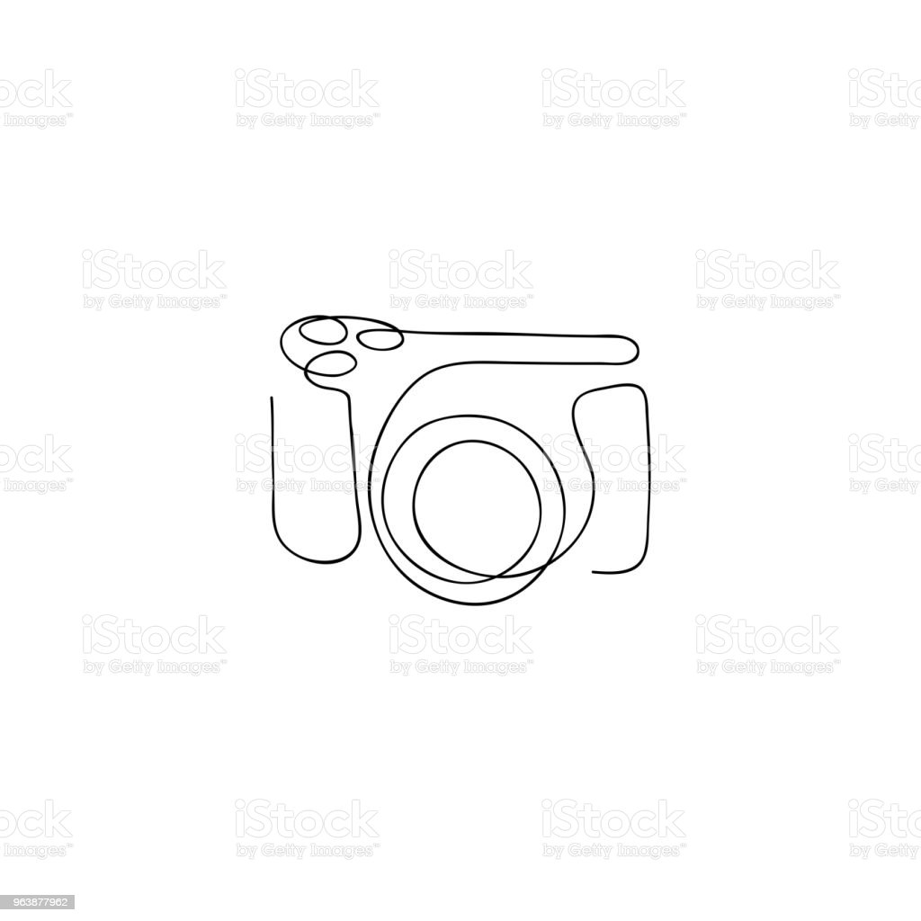 One line photo camera Hand drawn vector illustration. - Royalty-free Advertisement stock vector