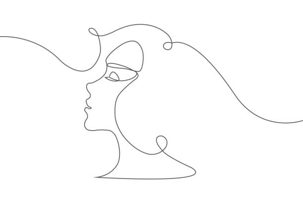 one line portrait of a beautiful woman - kiss stock illustrations