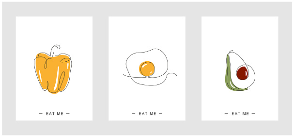 One line poster Set. Continuous line food. Paprika Eggs and sunny side up in minimalistic design. avocado line art. Cafe collection. design vector. For Menu and posters. For restaurants. for kitchen