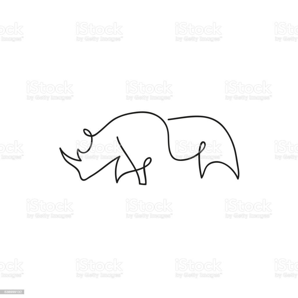 One Line Design : One line rhinoceros design silhouette hand drawn vector