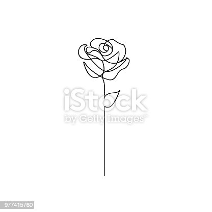 One line rose design. Hand drawn minimalism style